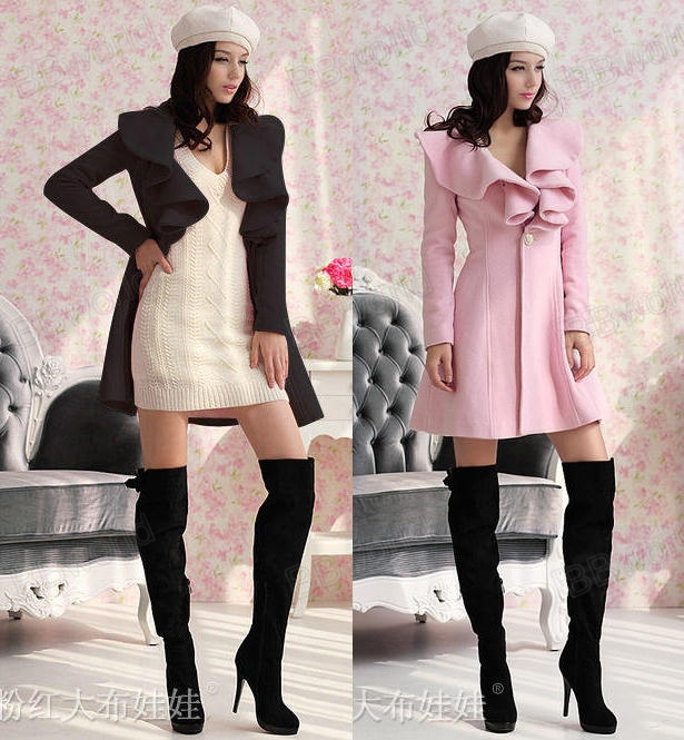 Black Pink Parka Jacket Women Trench Coat Outwear Slim FIT Gossip Girl