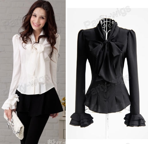 Women'S White Blouse With Black Bow | Fashion Ql