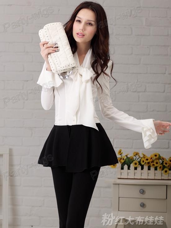 Beautiful Women Bow Shirt Fashion Shawl Collar Blouses Female Black White Shirts