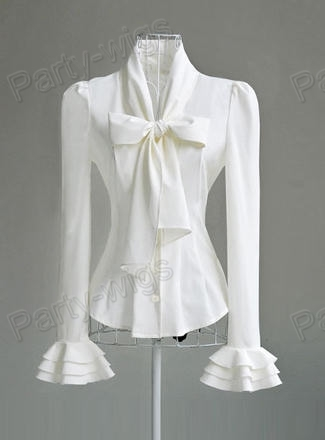 New Womens White Black Bow knot OL Shirt Slim Fit Tops Blouse Size ...