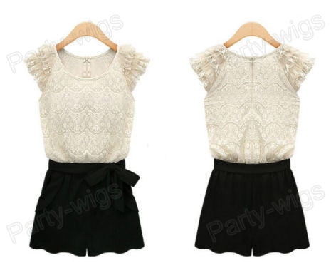 New Women Stitching Round Neck Lace Jumpsuit Rompers Chiffon Shorts Black D43